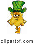 Mascot Cartoon of a Happy Badge Mascot Cartoon Character Wearing a Saint Patricks Day Hat with a Clover on It by Toons4Biz