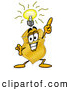 Mascot Cartoon of a Happy Badge Mascot Cartoon Character with a Bright Idea by Toons4Biz