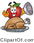 Mascot Cartoon of a Hungry Nutritious Red Apple Character Mascot with a Cooked Thanksgiving Turkey on a Platter by Toons4Biz