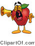 Mascot Cartoon of a Loud Red Apple Character Mascot Screaming into a Megaphone by Toons4Biz