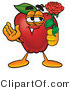 Mascot Cartoon of a Nutritious Red Apple Character Mascot Holding a Single Red Rose for His Love on Valentines Day by Toons4Biz