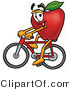 Mascot Cartoon of a Nutritious Red Apple Character Mascot Riding a Bicycle by Toons4Biz