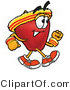 Mascot Cartoon of a Nutritious Red Apple Character Mascot Speed Walking or Jogging by Toons4Biz