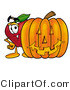 Mascot Cartoon of a Nutritious Red Apple Character Mascot Standing with a Carved Jack-o-lantern Halloween Pumpkin by Toons4Biz