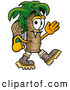 Mascot Cartoon of a Palm Tree Mascot Hiking and Carrying a Backpack by Toons4Biz