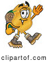 Mascot Cartoon of a Police Badge Mascot Cartoon Character Hiking and Carrying a Backpack by Toons4Biz