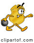 Mascot Cartoon of a Police Badge Mascot Cartoon Character Holding a Bowling Ball by Toons4Biz