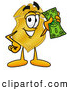 Mascot Cartoon of a Police Badge Mascot Cartoon Character Holding a Dollar Bill by Toons4Biz