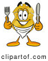 Mascot Cartoon of a Police Badge Mascot Cartoon Character Holding a Knife and Fork by Toons4Biz