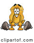 Mascot Cartoon of a Police Badge Mascot Cartoon Character Lifting a Heavy Barbell by Toons4Biz