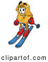 Mascot Cartoon of a Police Badge Mascot Cartoon Character Skiing Downhill by Toons4Biz