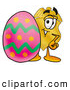 Mascot Cartoon of a Police Badge Mascot Cartoon Character Standing Beside an Easter Egg by Toons4Biz