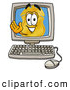 Mascot Cartoon of a Police Badge Mascot Cartoon Character Waving from Inside a Computer Screen by Toons4Biz
