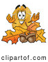Mascot Cartoon of a Police Badge Mascot Cartoon Character with Autumn Leaves and Acorns in the Fall by Toons4Biz
