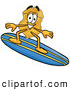 Mascot Cartoon of a Police Officer Badge Mascot Cartoon Character Surfing on a Blue and Yellow Surfboard by Toons4Biz