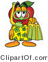 Mascot Cartoon of a Silly Red Apple Character Mascot in Green and Yellow Snorkel Gear by Toons4Biz