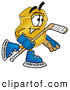 Mascot Cartoon of a Smiling Badge Mascot Cartoon Character Playing Ice Hockey by Toons4Biz