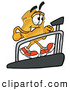 Mascot Cartoon of a Smiling Badge Mascot Cartoon Character Walking on a Treadmill in a Fitness Gym by Toons4Biz