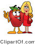 Mascot Cartoon of a Snazzy Red Apple Character Mascot Talking Nutrition with a Pretty Blond Woman by Toons4Biz