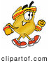 Mascot Cartoon of a Sporty Badge Mascot Cartoon Character Speed Walking or Jogging by Toons4Biz