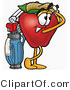 Mascot Cartoon of a Sporty Nutritious Red Apple Character Mascot Swinging His Golf Club While Golfing by Toons4Biz