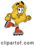Mascot Cartoon of an Outgoing Badge Mascot Cartoon Character Roller Blading on Inline Skates by Toons4Biz