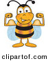 Mascot Vector Cartoon of a Bumble Bee Mascot Cartoon Character Flexing His Arm Muscles by Toons4Biz