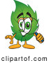Mascot Vector Cartoon of a Cheerful Leaf Mascot Cartoon Character Looking Through a Magnifying Glass - Coloring Page Outline by Toons4Biz
