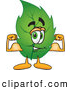Mascot Vector Cartoon of a Cute Leaf Mascot Cartoon Character Flexing His Strong Arm Muscles by Toons4Biz