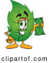 Mascot Vector Cartoon of a Eco Friendly Leaf Mascot Cartoon Character Holding a Cash Dollar Bill by Toons4Biz
