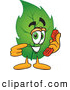 Mascot Vector Cartoon of a Eco Friendly Leaf Mascot Cartoon Character Holding a Telephone by Toons4Biz