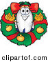 Mascot Vector Cartoon of a Festive Blimp Mascot Cartoon Character in the Center of a Christmas Wreath by Toons4Biz