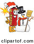 Mascot Vector Cartoon of a Festive Dynamite Mascot Cartoon Character with a Snowman on Christmas on White by Toons4Biz