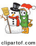 Mascot Vector Cartoon of a Festive Rolled Green Carpet Mascot Cartoon Character with a Snowman on Christmas by Toons4Biz