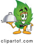 Mascot Vector Cartoon of a Friendly Leaf Mascot Cartoon Character Holding a Serving Platter by Toons4Biz