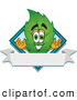 Mascot Vector Cartoon of a Friendly Leaf Mascot Cartoon Character with a Diamond and Blank Ribbon Label by Toons4Biz