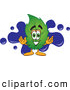 Mascot Vector Cartoon of a Green Leaf Mascot Cartoon Character with a Blue Paint Splatter by Toons4Biz