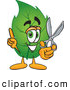 Mascot Vector Cartoon of a Grinning Leaf Mascot Cartoon Character Holding a Pair of Scissors by Toons4Biz