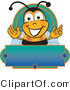 Mascot Vector Cartoon of a Happy Bee Mascot Cartoon Character on a Blank Blue and Green Label by Toons4Biz