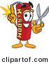 Mascot Vector Cartoon of a Happy Dynamite Mascot Cartoon Character Holding Scissors by Toons4Biz