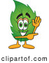 Mascot Vector Cartoon of a Happy Leaf Mascot Cartoon Character Waving and Pointing by Toons4Biz