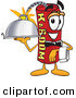 Mascot Vector Cartoon of a Happy Red Dynamite Mascot Cartoon Character Holding a Serving Platter by Toons4Biz
