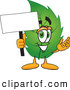 Mascot Vector Cartoon of a Healthy Leaf Mascot Cartoon Character Holding a Blank White Sign by Toons4Biz