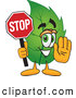 Mascot Vector Cartoon of a Healthy Leaf Mascot Cartoon Character Holding a Stop Sign by Toons4Biz