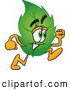 Mascot Vector Cartoon of a Healthy Leaf Mascot Cartoon Character Running by Toons4Biz