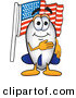 Mascot Vector Cartoon of a Patriotic Blimp Mascot Cartoon Character Pledging Allegiance to the American Flag by Toons4Biz