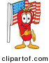 Mascot Vector Cartoon of a Patriotic Red Hot Chili Pepper Mascot Cartoon Character Pledging Allegiance to the American Flag by Toons4Biz
