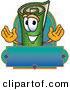 Mascot Vector Cartoon of a Rolled Green Carpet Mascot Cartoon Character with a Blank Label by Toons4Biz
