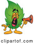Mascot Vector Cartoon of a Shouting Leaf Mascot Cartoon Character Screaming into a Megaphone by Toons4Biz