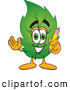 Mascot Vector Cartoon of a Smiling Leaf Mascot Cartoon Character Holding a Pencil by Toons4Biz